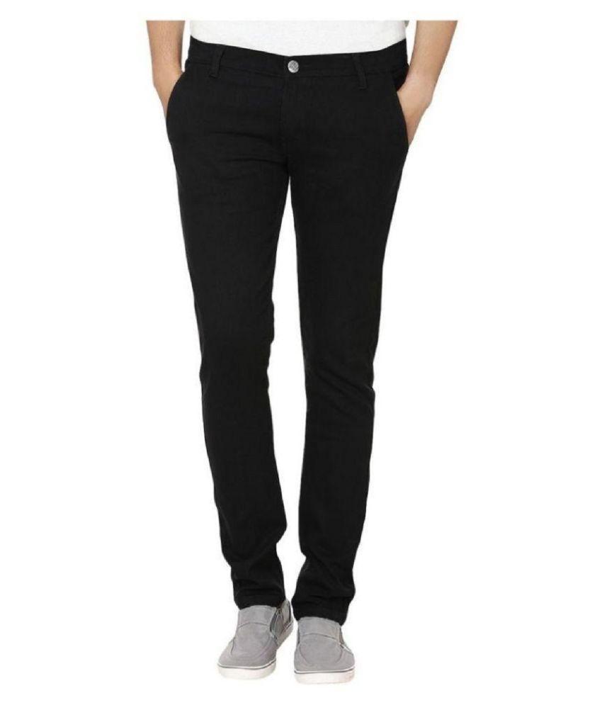 Urbano Fashion Black Slim Solid Jeans