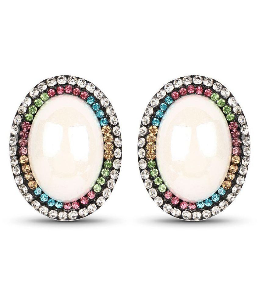 Johareez White Synthetic Pearl & Multicolor Stone Black Rhodium Plated Oval Shape Tops Earrings