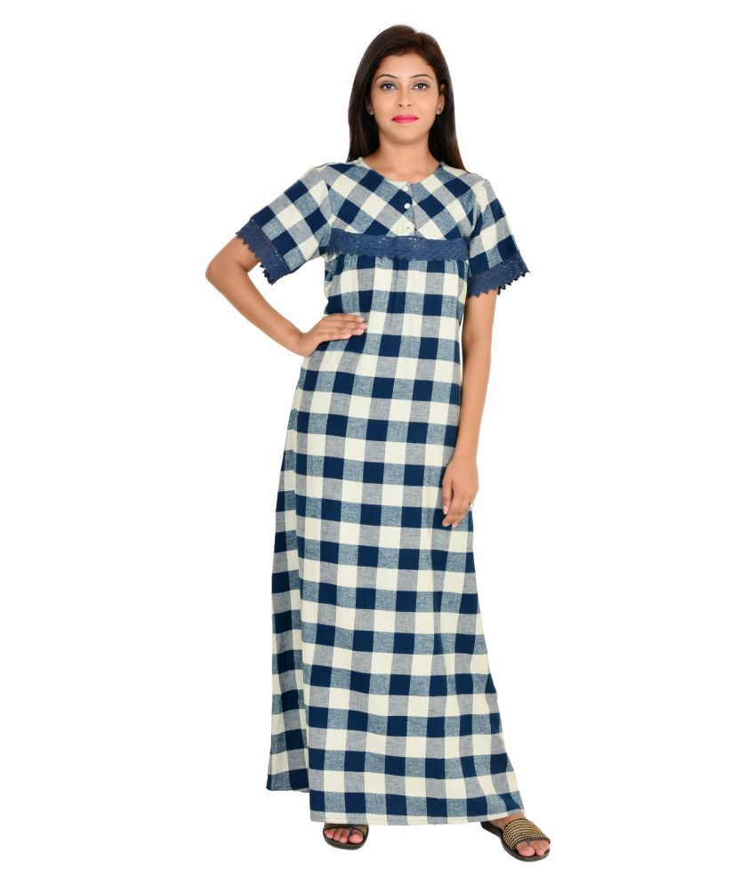 67aade3940 Buy 9Teenagain Navy Cotton Nighty & Night Gowns Online at Best Prices in  India - Snapdeal