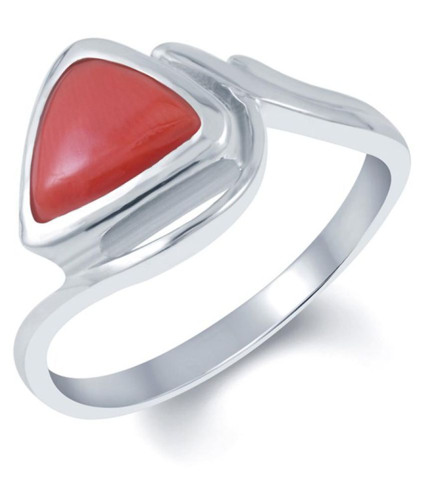 G-Luck 92.5 Silver Coral Ring