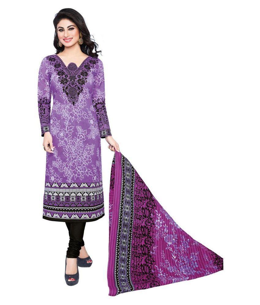 M.S. Boutique Purple Cotton Dress Material