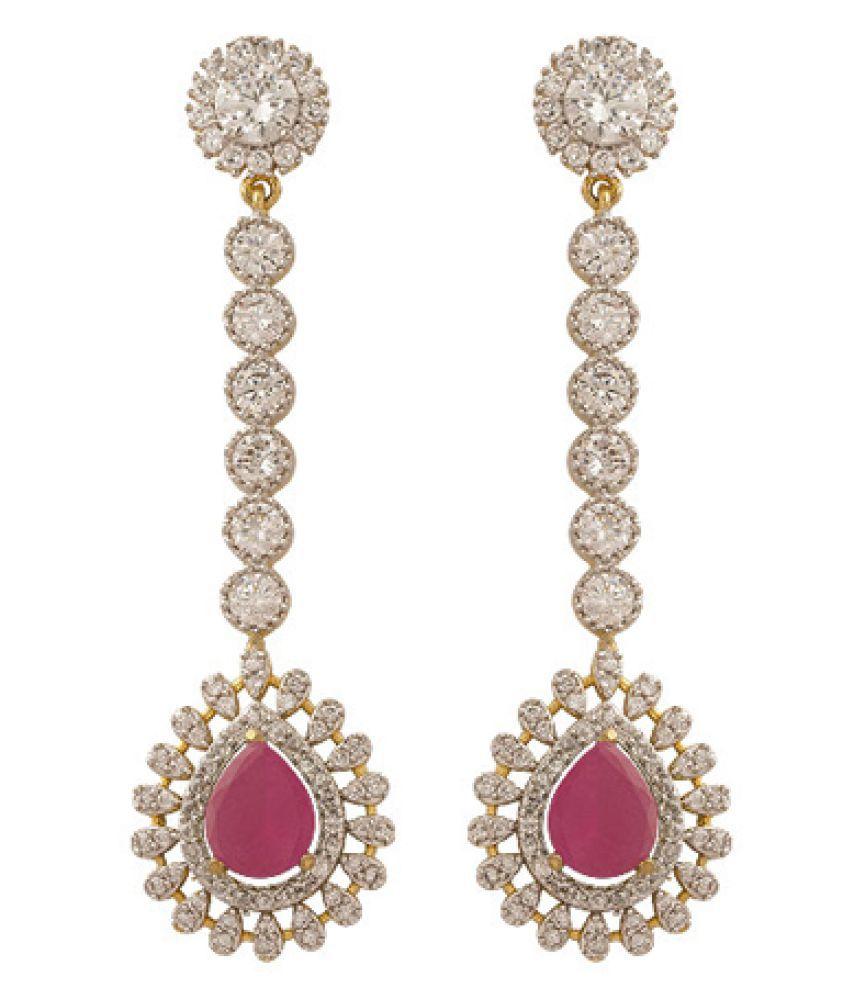 Voylla White Alloy Hanging Earrings