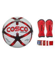 Cosco Combo Of Permalast Football (size-5) & Kicker Shin Guard With Free Pair Of Soccer Socks