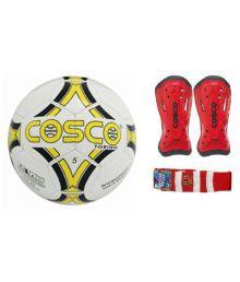 Cosco Combo Of Torino Football (size-5) & Kicker Shin Guard With Free Pair Of Soccer Socks