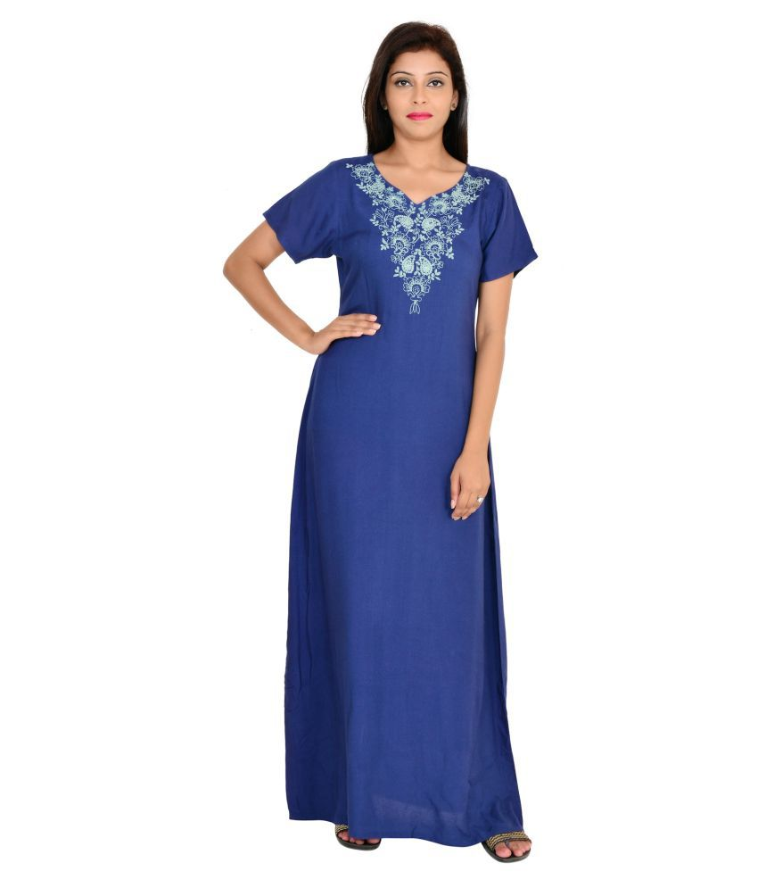 9teenagain Blue Cotton Nighty & Night Gowns
