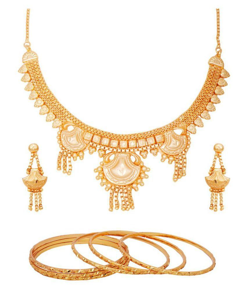 Hi Lifestyles Golden Necklace Set with 6 Golden Bangles