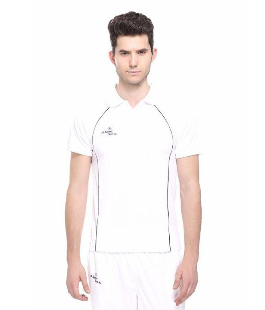 Sport Sun White Cricket Polo T-Shirt