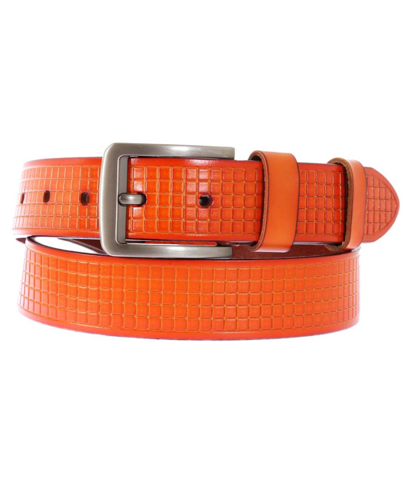 Schmick Orange Leather Casual Belts