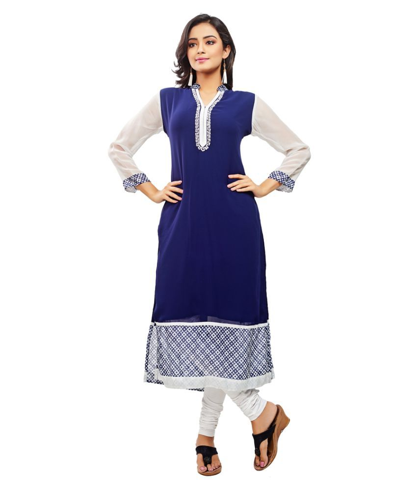 Nakhrili Blue Georgette Straight Kurti