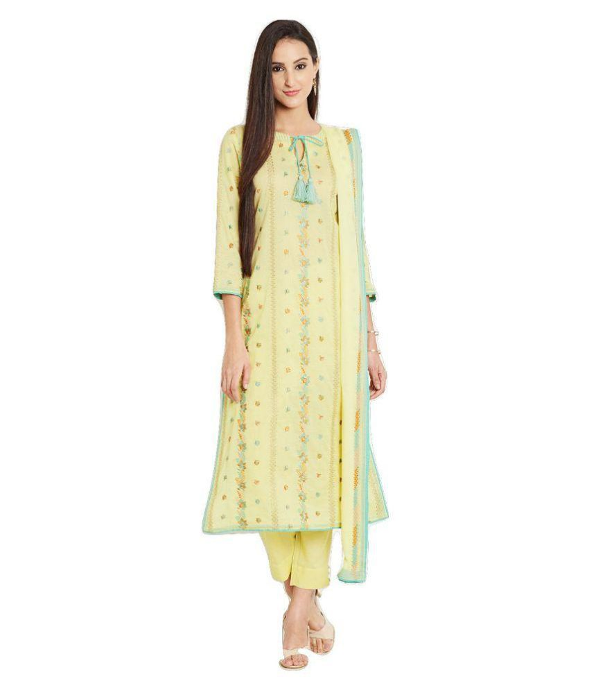 Uptowngaleria Yellow Cotton Dress Material