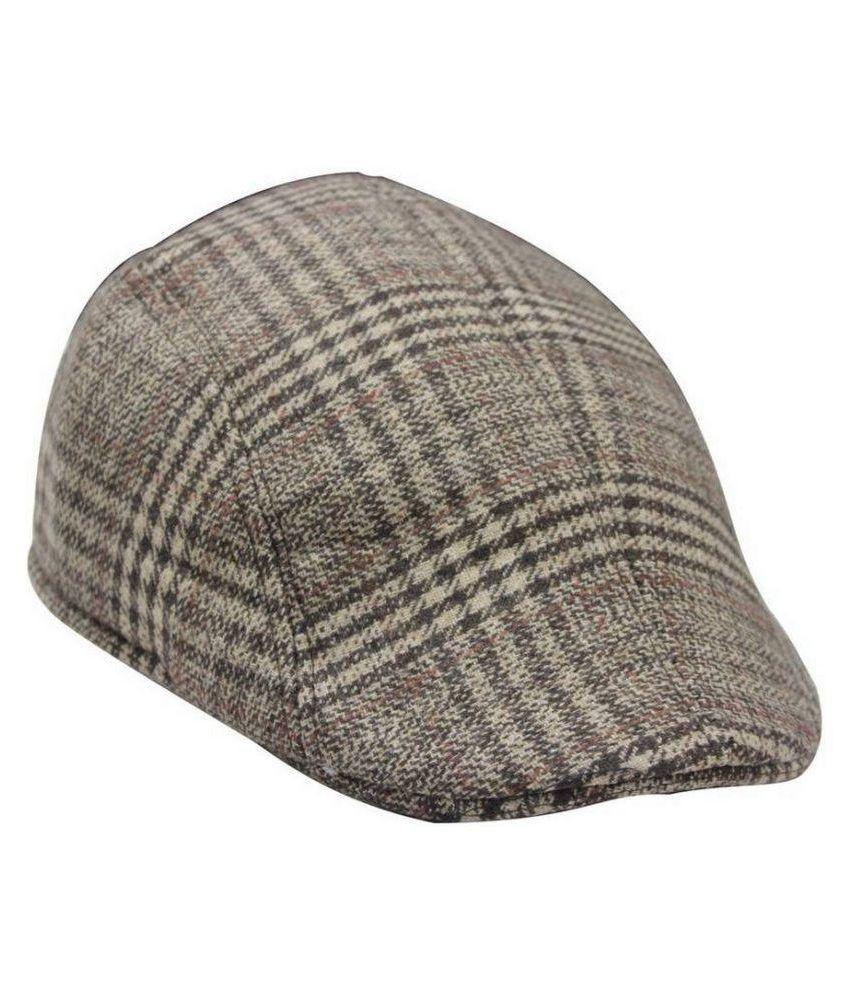99dailydeals Brown Checkered Cotton Caps