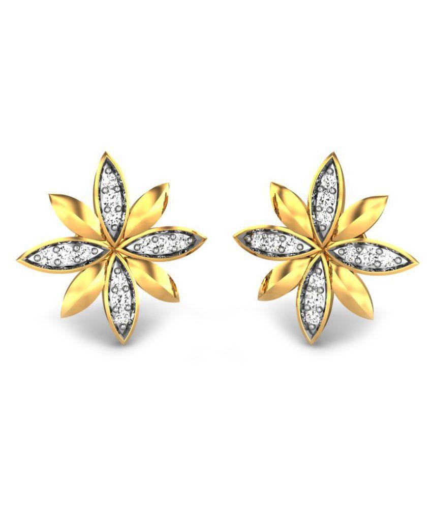 Candere 14k BIS Hallmarked Yellow Gold Diamond Studs