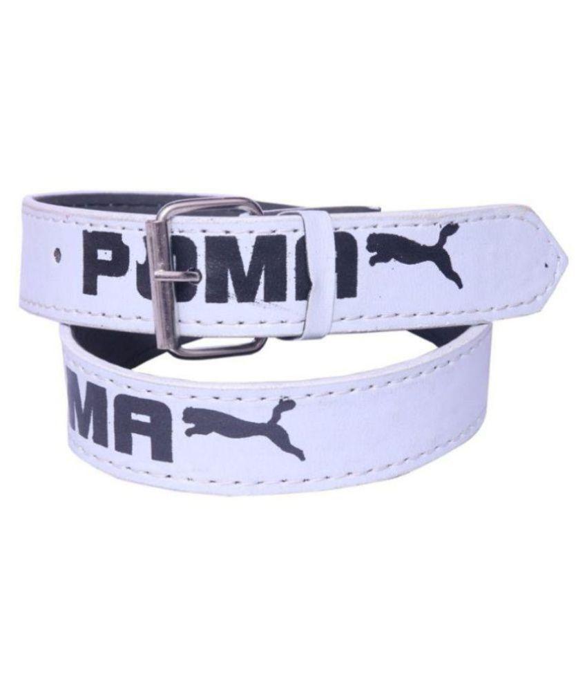 Coovs White PU Casual Belts