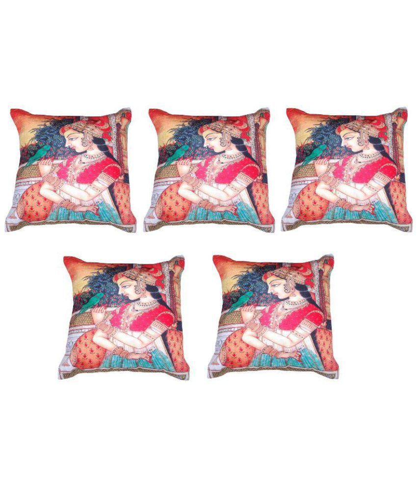 Glamkart Multicolor Cotton Cushion Covers - Set Of 5