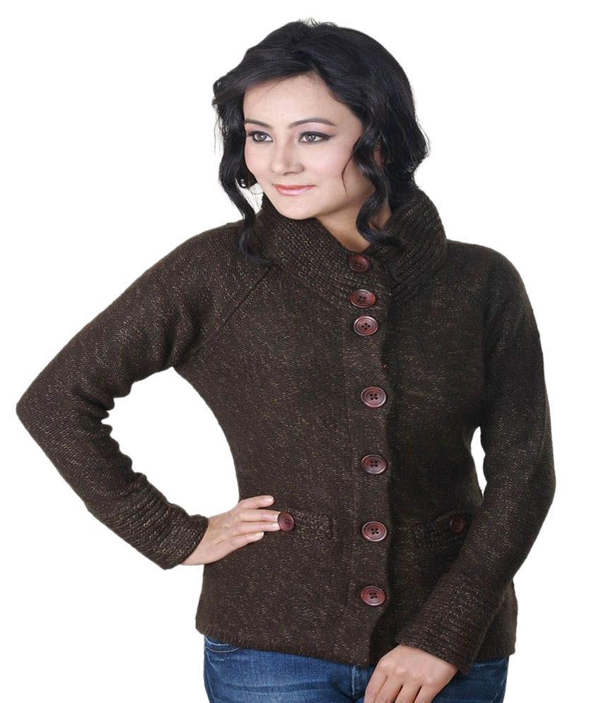 Riverside Brown Acro Wool Buttoned Cardigans