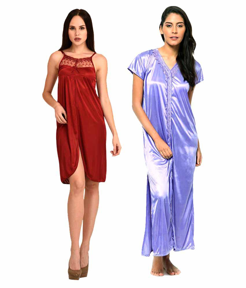 Fashion Beats Multi Color Satin Nighty & Night Gowns