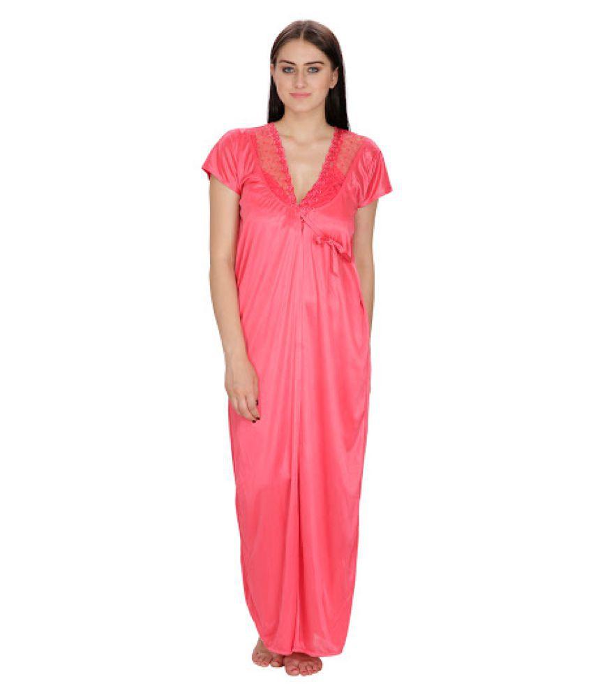 Klamotten Peach Satin Nighty & Night Gowns