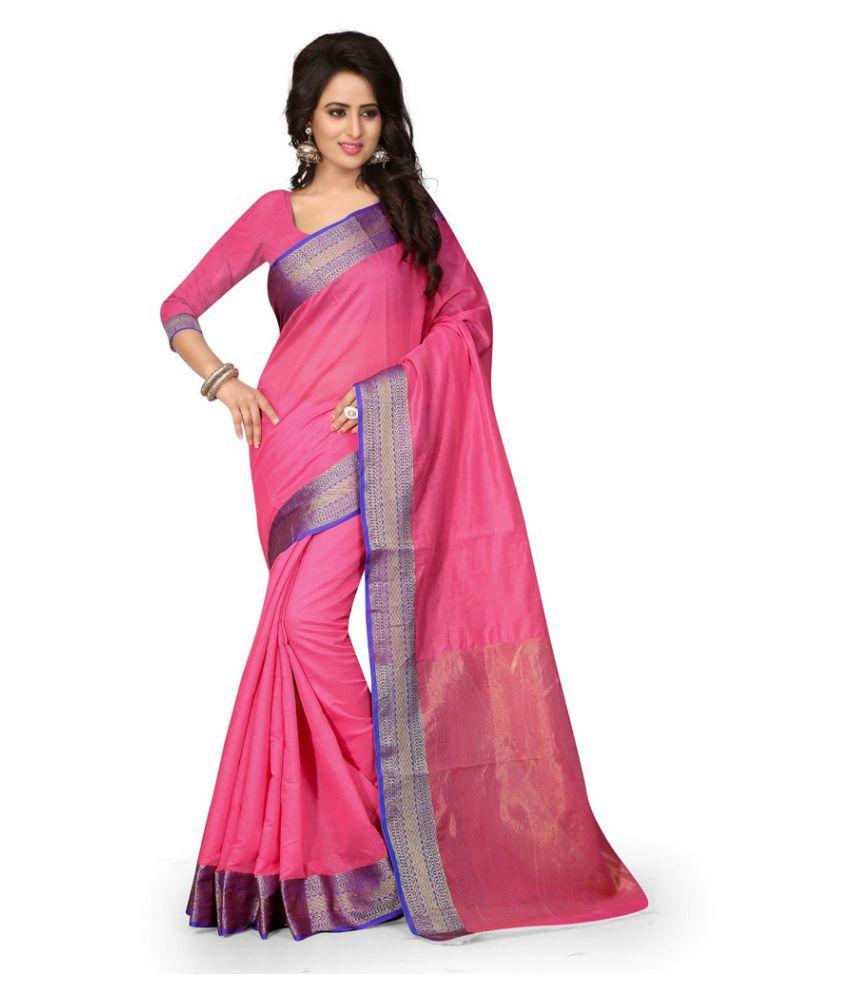 Lovit Fashion Pink Cotton Saree
