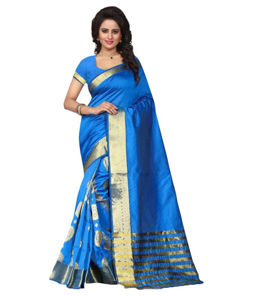 Kt Fashion Sky Blue Cotton Silk Saree
