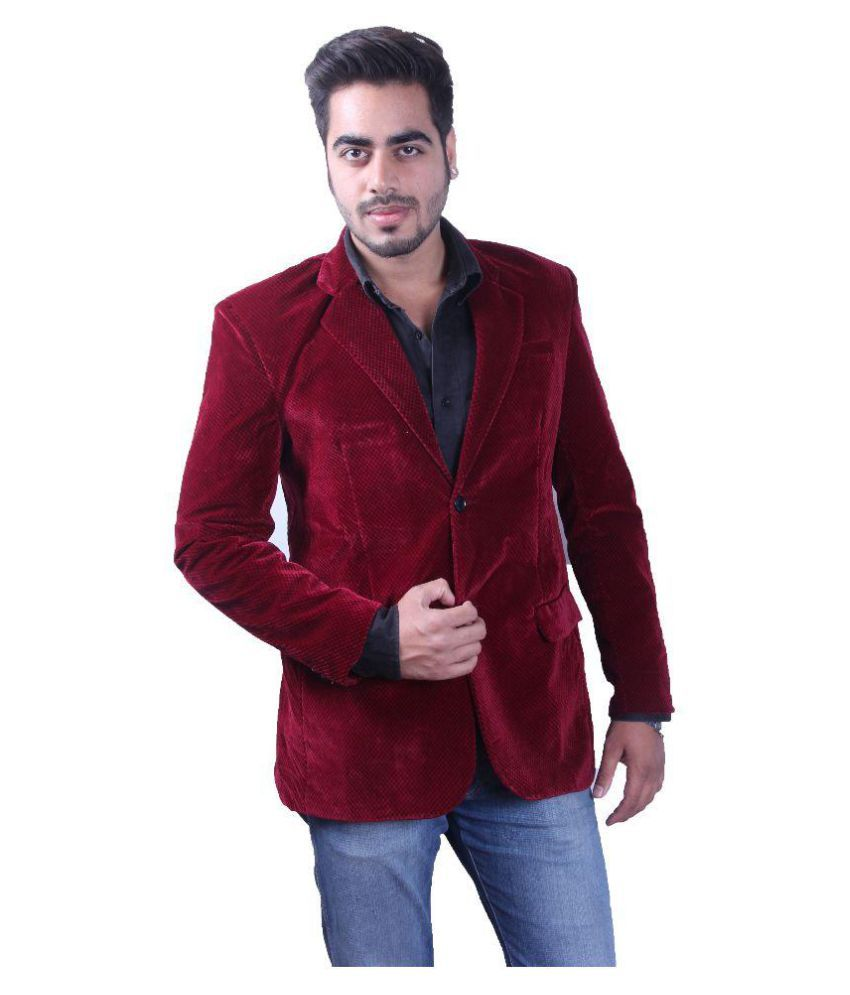 Intrend Maroon Solid Casual Blazers