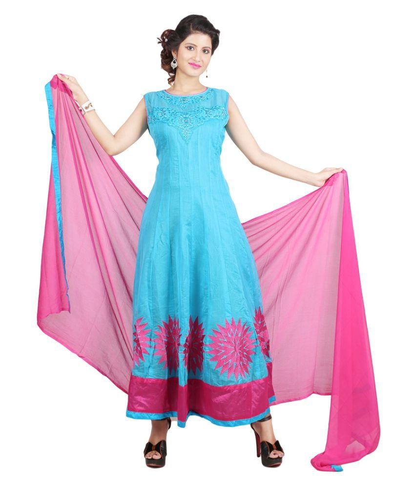 Sharmili Sky Blue Chanderi Anarkali Stitched Suit