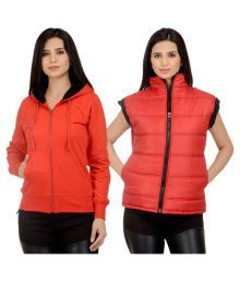 Rakshita's Collection Red Fleece Bomber Jacket With Sweatshirt