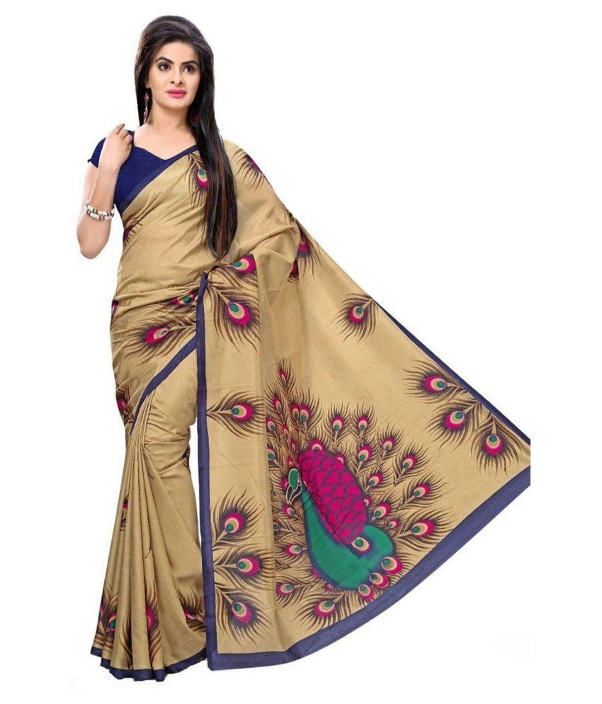 Lovit Fashion Beige Art Silk Saree