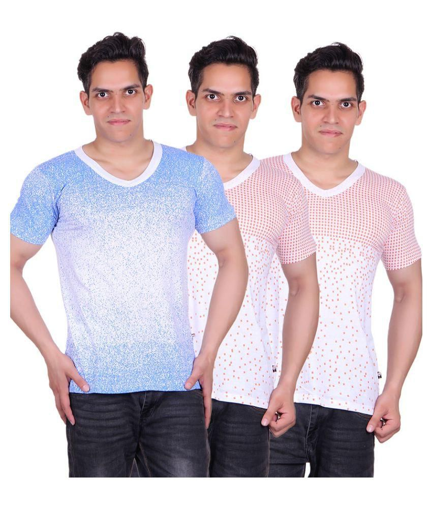 White Moon White V-Neck T-Shirt - Pack of 3