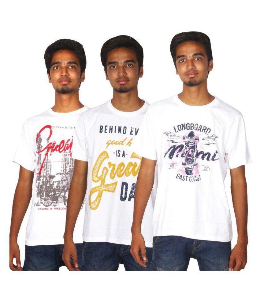 Xapic White Round T-Shirt Pack of 3