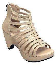 Shoe Lab Beige Block Heels