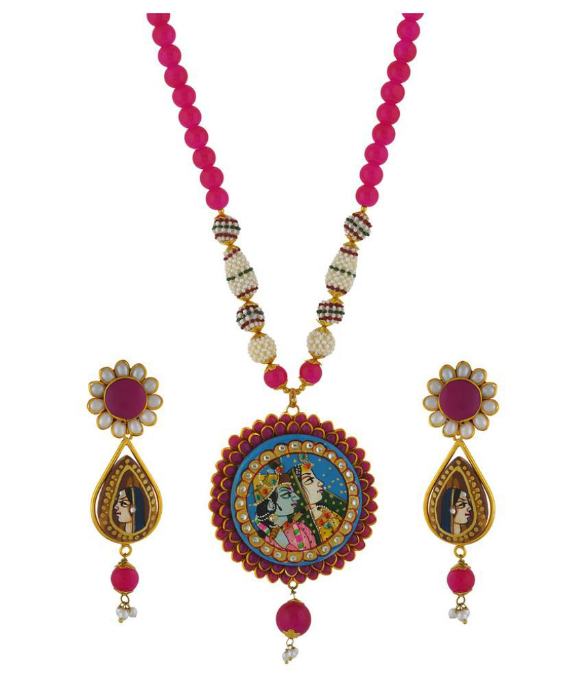 Affinity Jewellers Pink Necklace Set