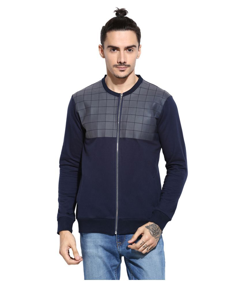 Campus Sutra Navy Quilted Bomber Jacket Buy Campus Sutra Navy
