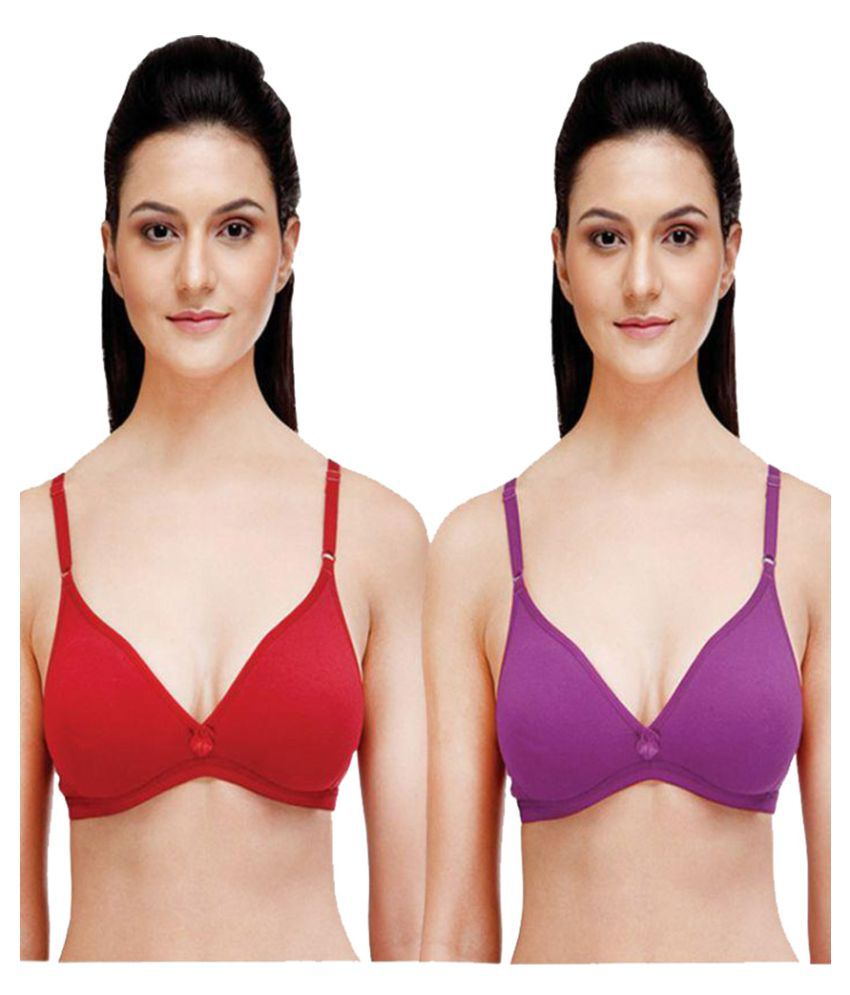 Saadgi Collections Multi Color Cotton T-Shirt/ Seamless Bra