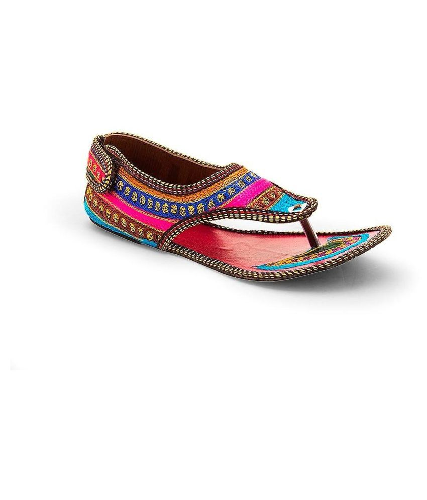 Rajasthani Prints Multi Color Flat Ethnic Footwear