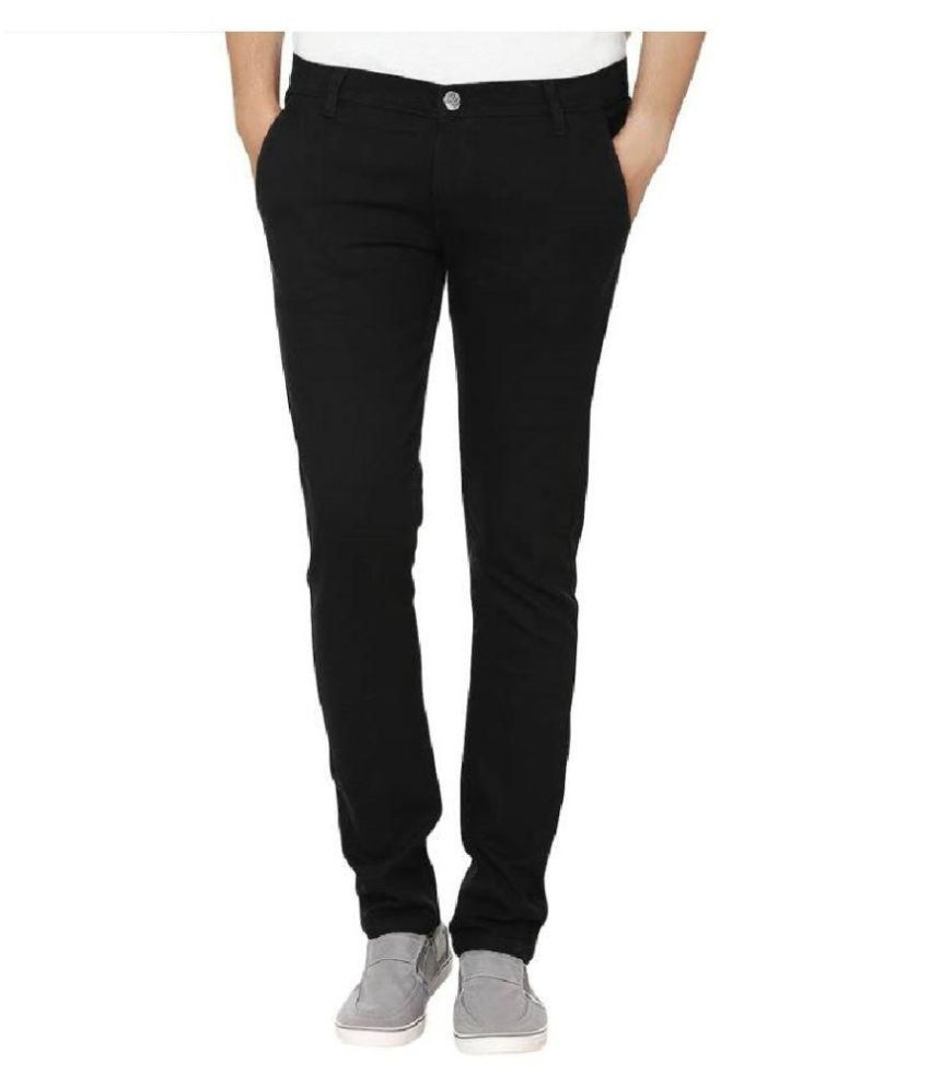 IBS Black Straight Solid Denim Jeans