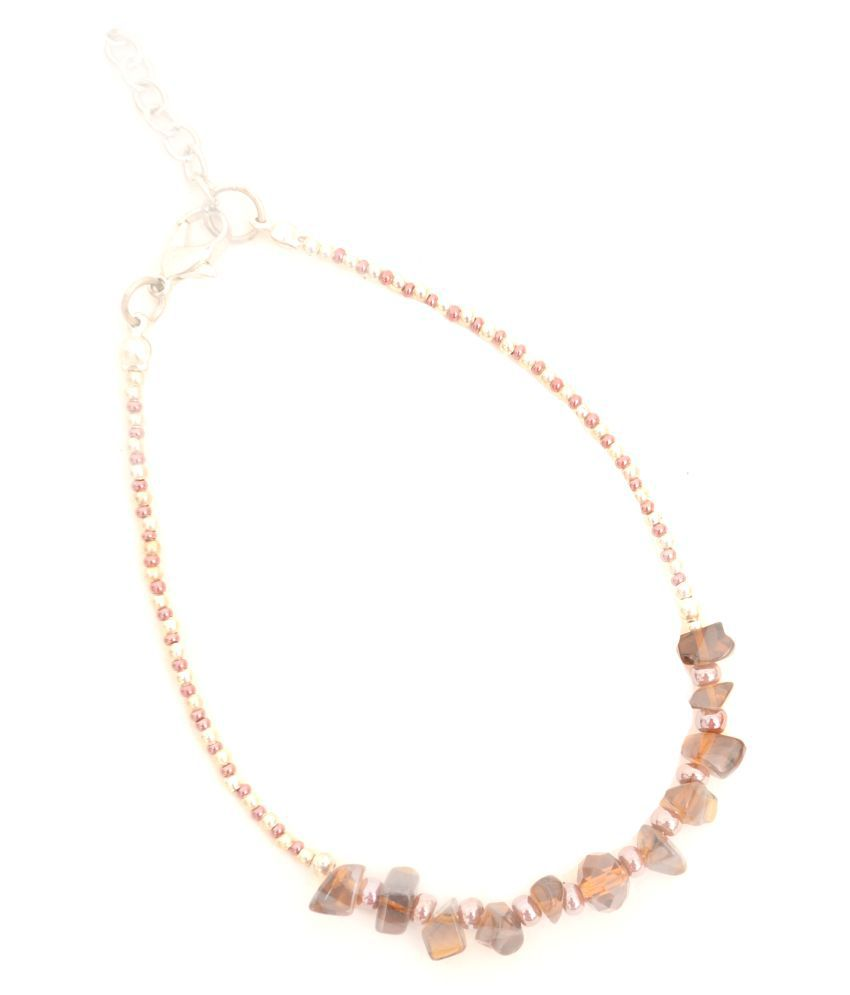 Zurri Multicolor Single Layered Stone Anklet