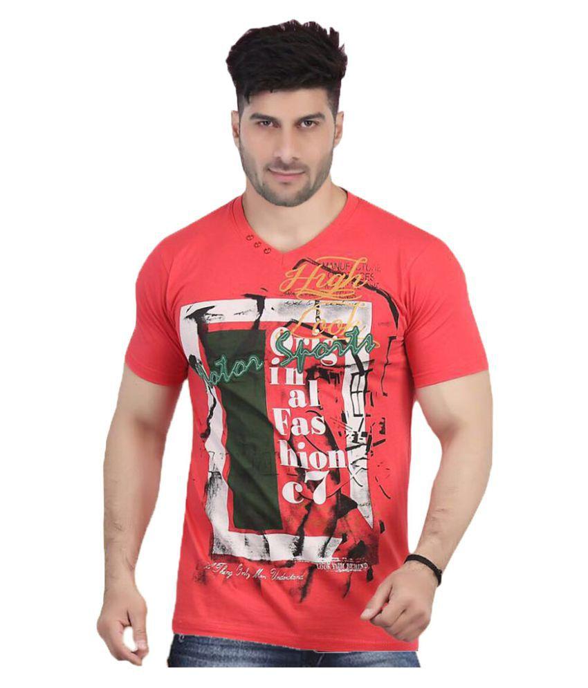 V Plus 9 Red V-Neck T-Shirt