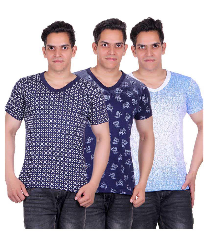 White Moon Multi V-Neck T-Shirt Pack of 3