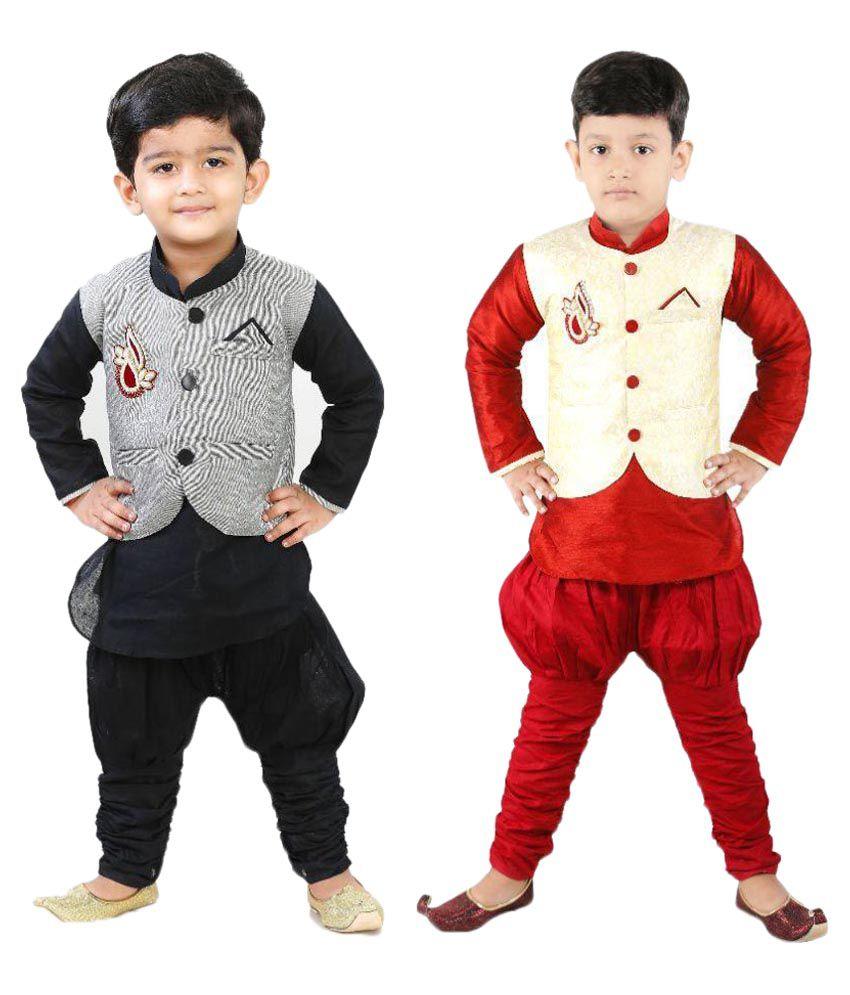 Ftcbazar Multicolor Silk Indo Western - Pack of 2