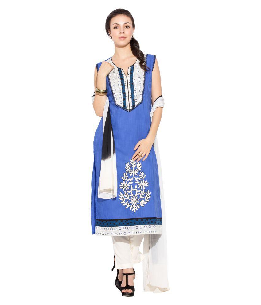 Nikhaar Blue Cotton Straight Stitched Suit