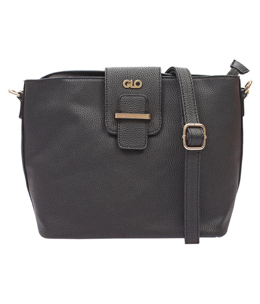 Globus Black P.U. Tote Bag