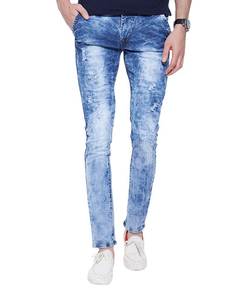 Go India Store Blue Slim Distressed
