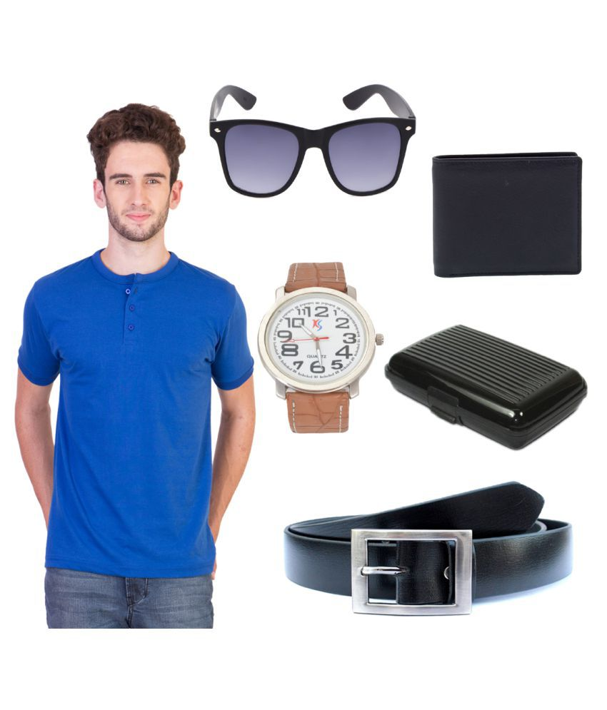 Knightly Fashion Blue Henley T-Shirt Knightly Fashion Black Henley T-Shirt with Wallet, Belt, Watch, Sunglasses and Cardholder.