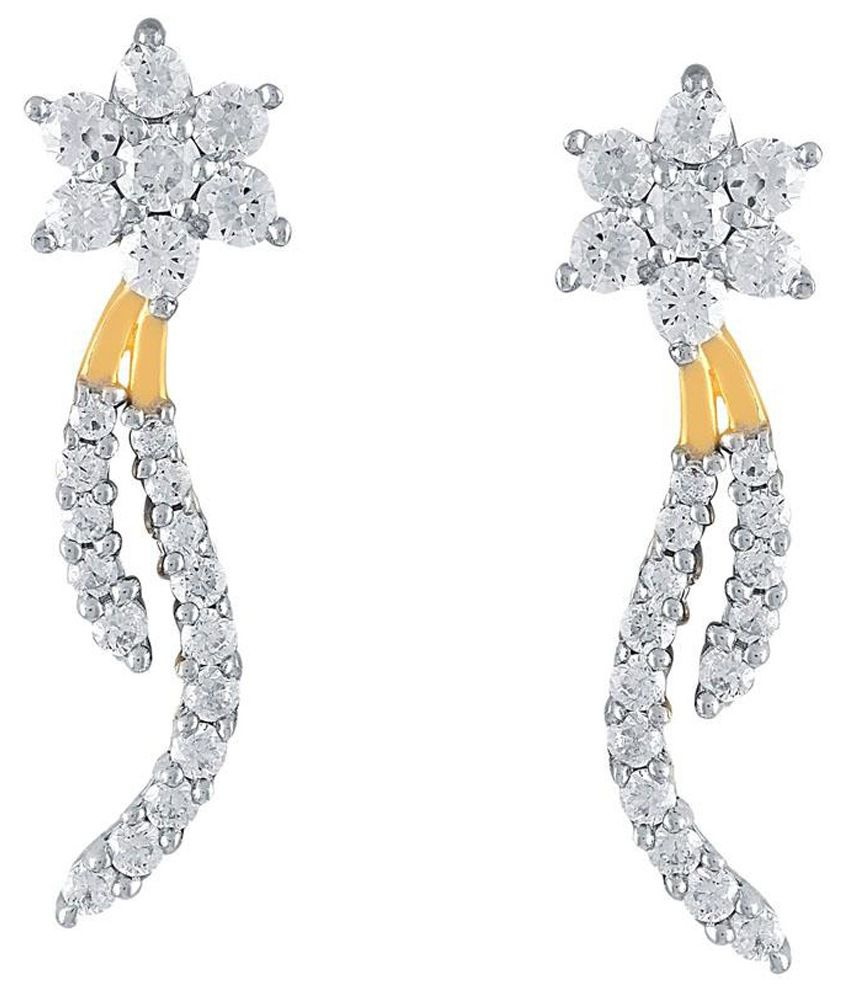 Nakshatra 18k BIS Hallmarked Yellow Gold Diamond Hangings