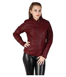 Zipper Maroon Pu Leather Biker Jacket