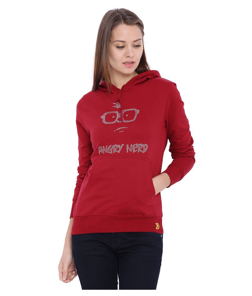 Campus Sutra Red Cotton Hooded