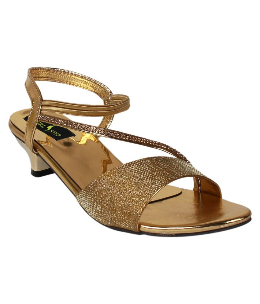 Girlstep Gold Block Heels