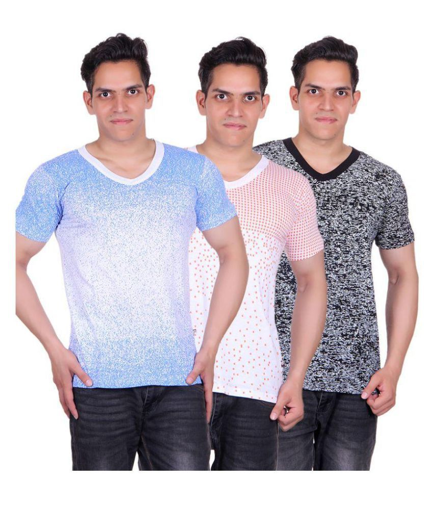 White Moon Multi V-Neck T-Shirt Pack of 3