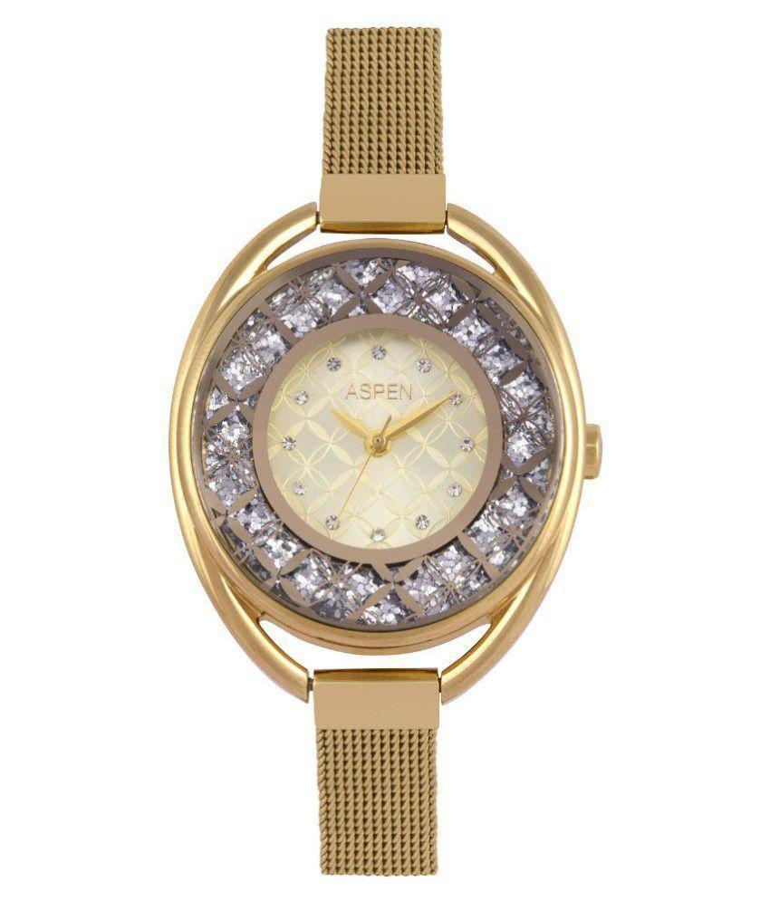 Aspen Golden Color Analog Metal Watches For Women