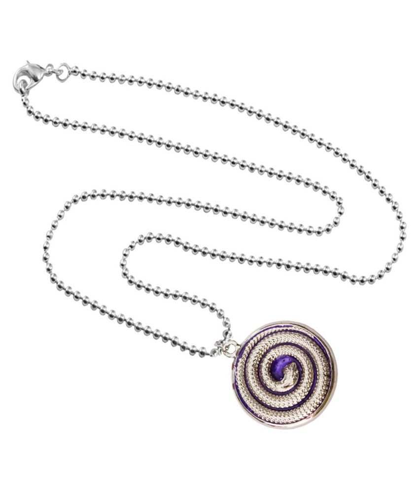 Mens Jewell Silver::Violet  Round Snake Fashion  Pendant